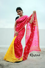 Load image into Gallery viewer, Yellow n Pink Cutwork Liva Saree