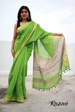 Load image into Gallery viewer, Shamrock Green Silk Liva Saree