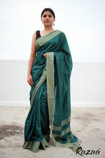 Load image into Gallery viewer, Pine Green Liva Saree