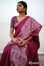 Load image into Gallery viewer, Magenta Liva Saree with Elephant Jacquard Zariwork