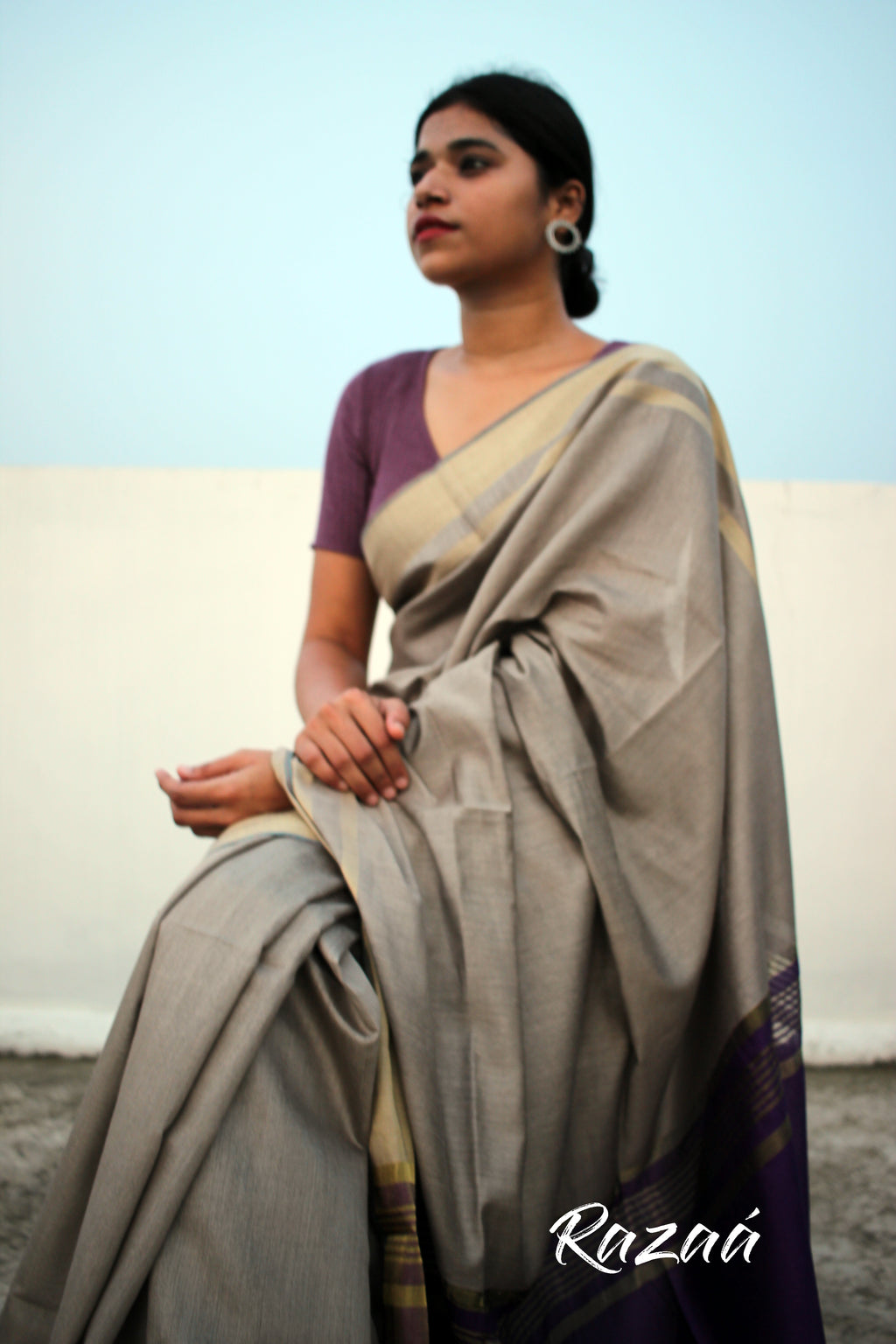 Sandy Grey Liva Saree