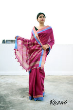 Load image into Gallery viewer, Cardinal Pink Liva Saree with Jacquard Anchal