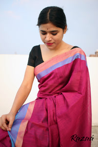 Cardinal Pink Liva Saree with Jacquard Anchal