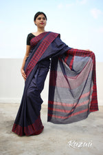 Load image into Gallery viewer, Navy Blue Liva Saree with Geometric Border
