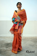 Load image into Gallery viewer, Piper Orange Liva Saree