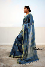 Load image into Gallery viewer, Indigo Heart Liva Resham Saree
