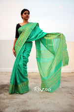 Load image into Gallery viewer, Bright Turquoise Liva Saree With Zari Temple Border