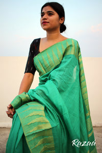 Bright Turquoise Liva Saree With Zari Temple Border
