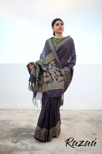 Black Iris Art Linen Jacquard Saree