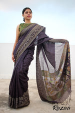 Load image into Gallery viewer, Black Iris Art Linen Jacquard Saree