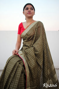 Desert Olive Linen Checks Saree