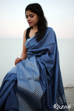 Load image into Gallery viewer, Royal Blue Liva Saree with Silver Zari Jacquard work