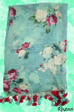 Load image into Gallery viewer, Liva Linen Digital Painted Fuchsia Floral Dupatta