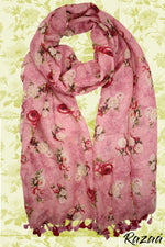 Load image into Gallery viewer, Liva Linen Digital Painted Pink Floral Dupatta