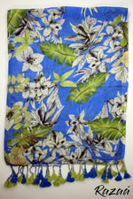 Load image into Gallery viewer, Liva Linen Digital Painted Blue Floral Dupatta