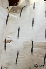 Load image into Gallery viewer, Handloom Ikat Off White Nehru Jacket