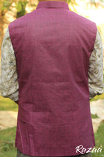 Load image into Gallery viewer, Handloom Herringbone Magenta Nehru Jacket