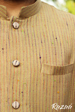 Load image into Gallery viewer, Handloom Beige Striped Nehru Jacket