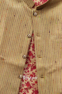 Handloom Beige Striped Nehru Jacket