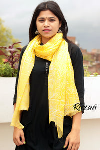 Yellow abstract print scarf