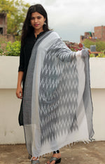 Load image into Gallery viewer, Grey Handmade Ikat Patterned Cotton Dupatta