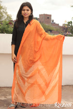 Load image into Gallery viewer, Orange Ikat Cotton Dupatta