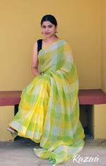 Load image into Gallery viewer, Green Yellow Checks Linen Saree