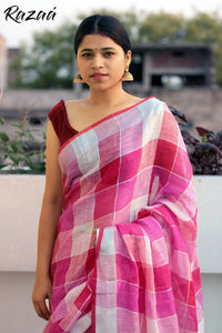 Pink Linen Checks Saree