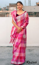 Load image into Gallery viewer, Pink Linen Checks Saree