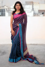 Load image into Gallery viewer, Red & Blue Border Striped Anchal Liva Saree