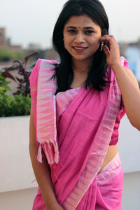 Pink Liva Saree with Silver Zari Temple Border