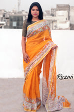 Load image into Gallery viewer, Madhubani Printed Orange Linen Saree