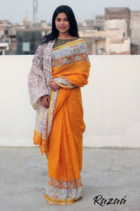 Madhubani Printed Orange Linen Saree