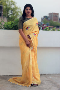 Sparrows Embroidered Linen Saree