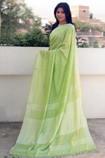 Load image into Gallery viewer, Green Summer Cotton Liva Saree