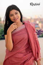 Load image into Gallery viewer, Brick Red Summer Cotton Liva Saree