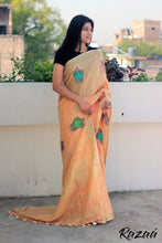 Load image into Gallery viewer, Orange Linen Saree with Goddess Embroidery