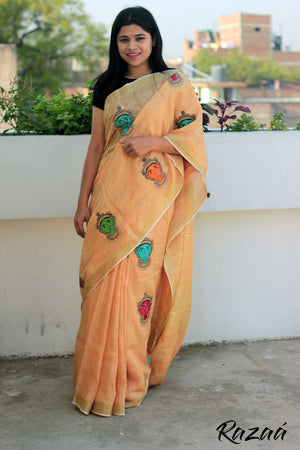 Orange Linen Saree with Goddess Embroidery