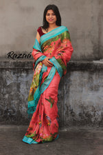 Load image into Gallery viewer, Coral Linen Printed Saree