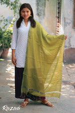 Load image into Gallery viewer, Summer Green Liva Zari Dupatta
