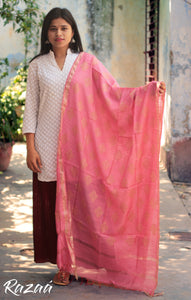 Pink Golden Jacquard work Dupatta