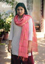 Load image into Gallery viewer, Pink Golden Jacquard work Dupatta