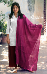 Load image into Gallery viewer, Magenta Dobby work Liva Dupatta