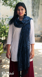 Load image into Gallery viewer, Tiger Stripe Blue Cotton Mulmul Dupatta
