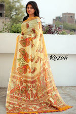 Load image into Gallery viewer, Cream Linen Kalamkari printed saree