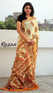 Cream Linen Kalamkari printed saree