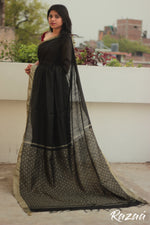 Load image into Gallery viewer, Black and Gold Liva Saree