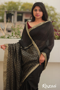 Black and Gold Liva Saree