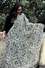 Load image into Gallery viewer, Monochrome Madhubani Cotton Dupatta