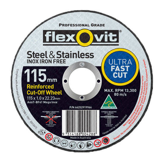 Flexovit A46T-BF41 Ultra Thin Mega Inox Premium Cut-Off Wheel 115mm
